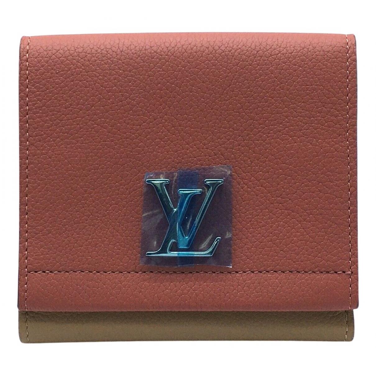 Louis Vuitton - Portefeuille Lockme pour femme en cuir - beige