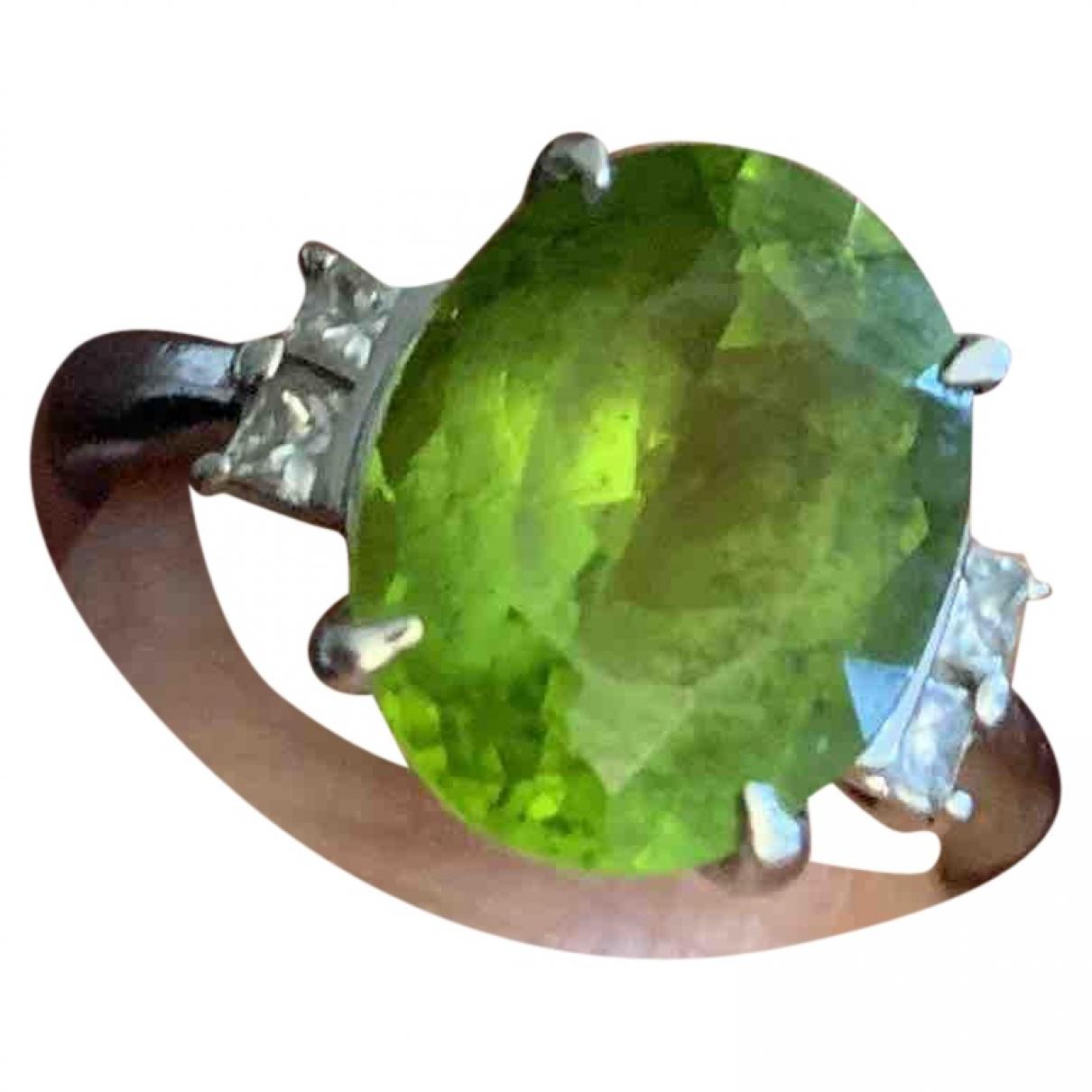 - Bague Art Deco pour femme en platine - vert