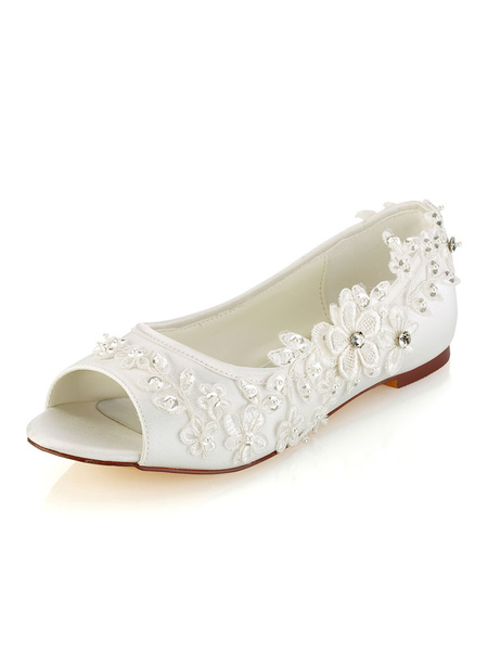 Milanoo Wedding Shoes Lace Ivory Flat Peep Toe Bridal Pumps