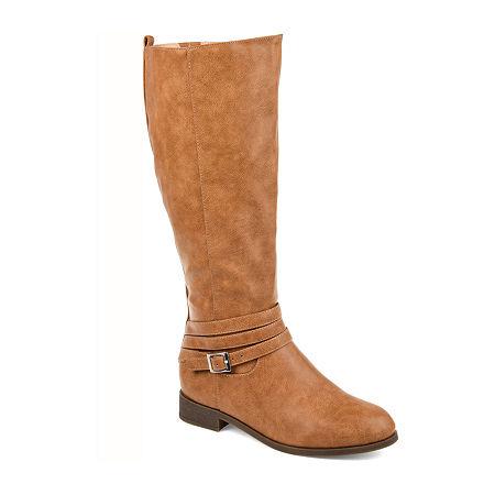 Journee Collection Womens Ivie Wide Calf Stacked Heel Zip Riding Boots, 10 Wide, Brown
