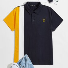 Camisa polo de hombres de color combinado con bordado