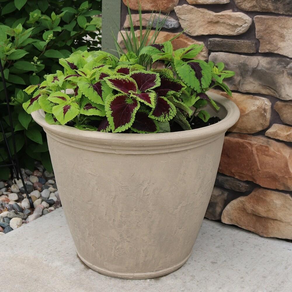 Sunnydaze Anjelica Outdoor Double-Walled Flower Planter - Beige - 24