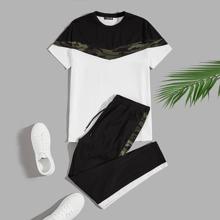Men Color Block Camo Tee & Drawstring Sweatpants Set