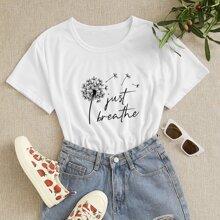 T-Shirt mit Lowenzahn & Buchstaben Grafik