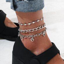 3pcs Heart Chain Anklet
