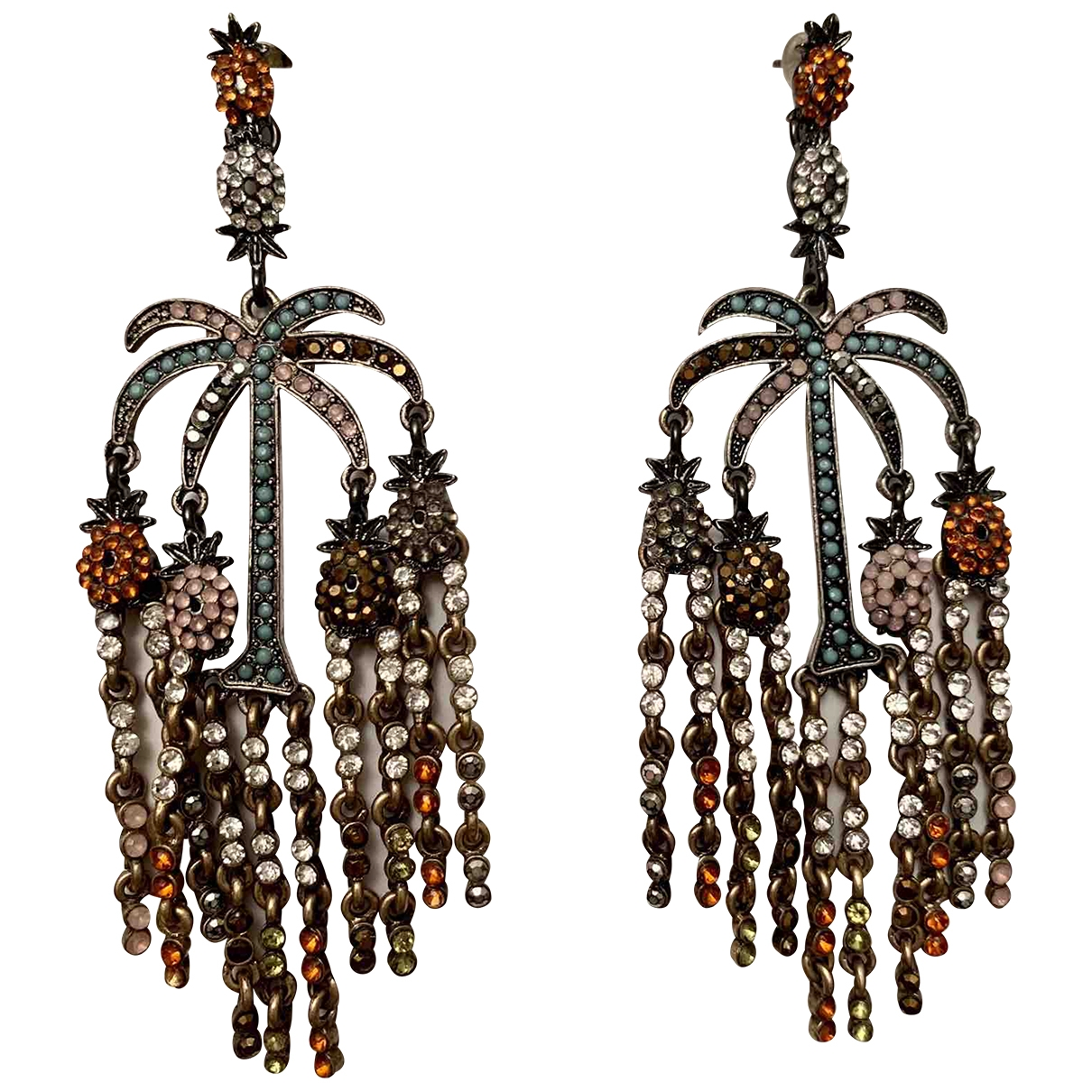 Non Signe / Unsigned Motifs Floraux OhrRing in  Bunt Metall