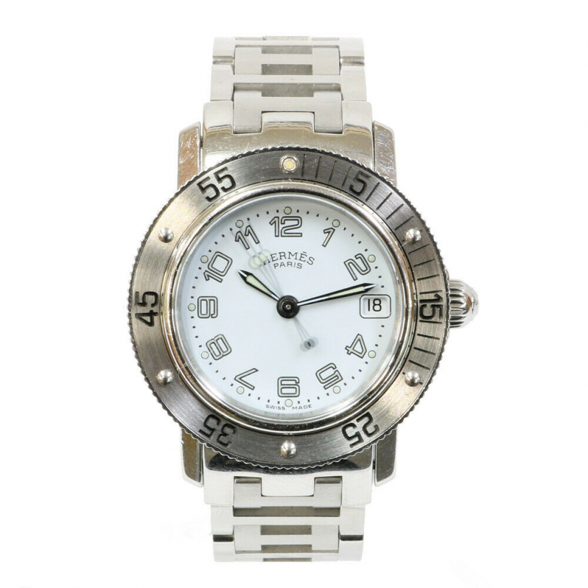 Hermes Clipper Uhr in  Weiss Stahl