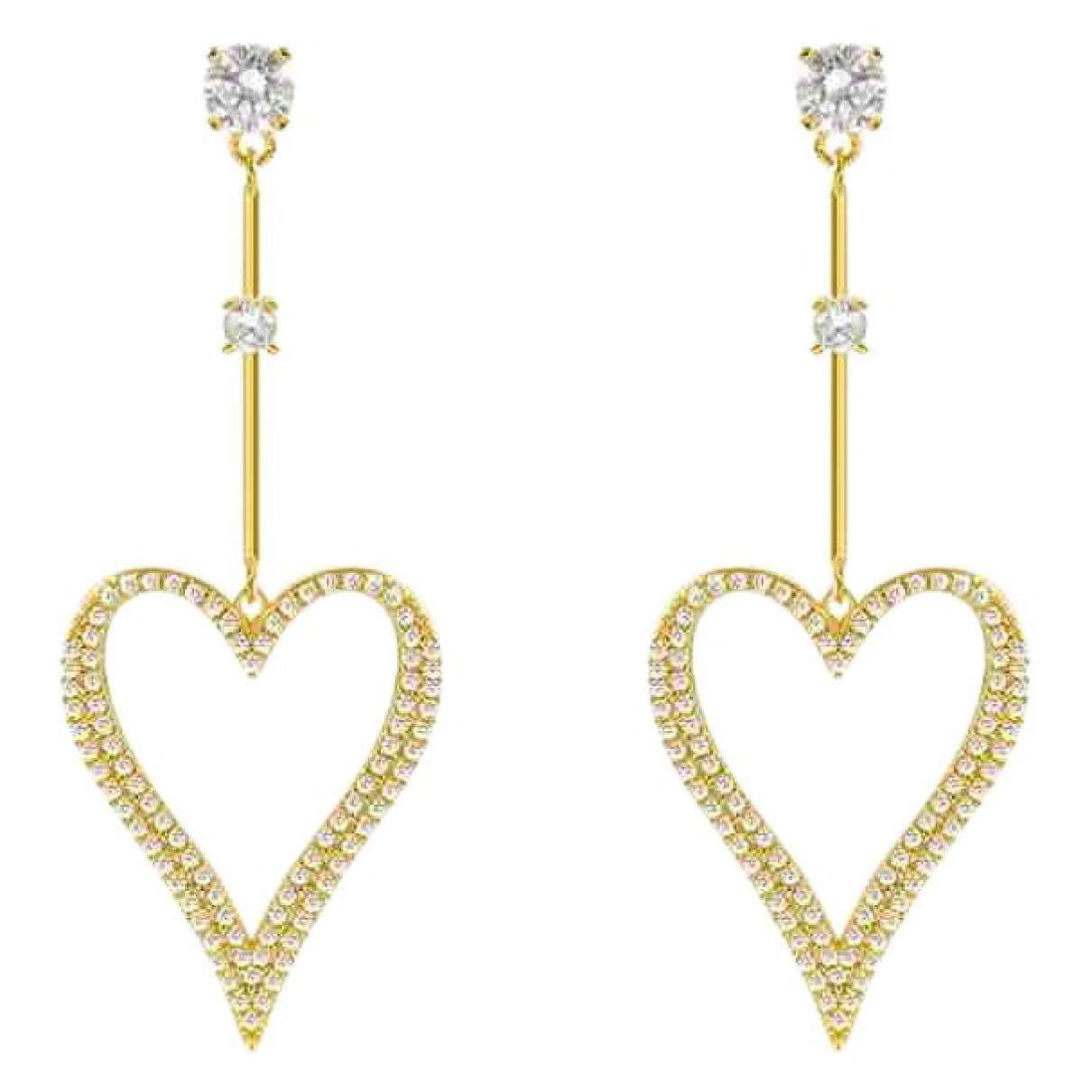 Non Signé / Unsigned Motifs Coeurs Gold Metal Earrings for Women N