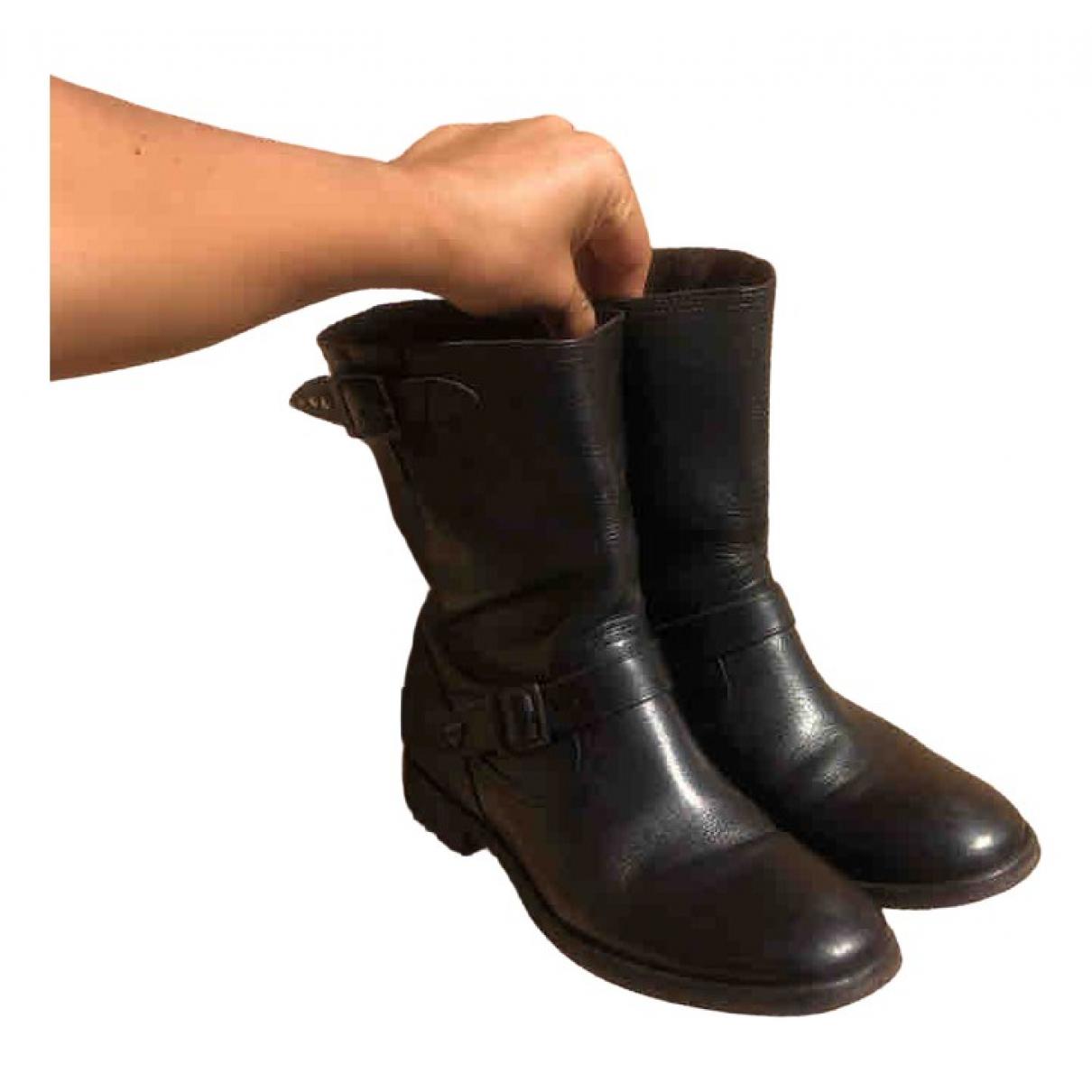 Htc - Boots   pour femme en cuir - noir