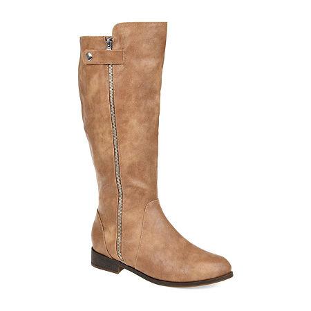 Journee Collection Womens Kasim Wide Calf Stacked Heel Zip Riding Boots, 9 Medium, Brown