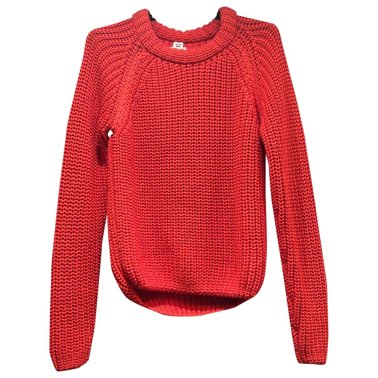 Hermes - Pull   pour femme en coton - orange