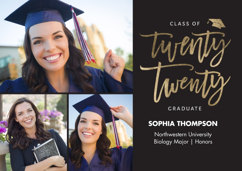 2020 Graduation Announcements 5x7 Cards, Premium Cardstock 120lb, Card & Stationery -2020 Grad Lettering by Tumbalina