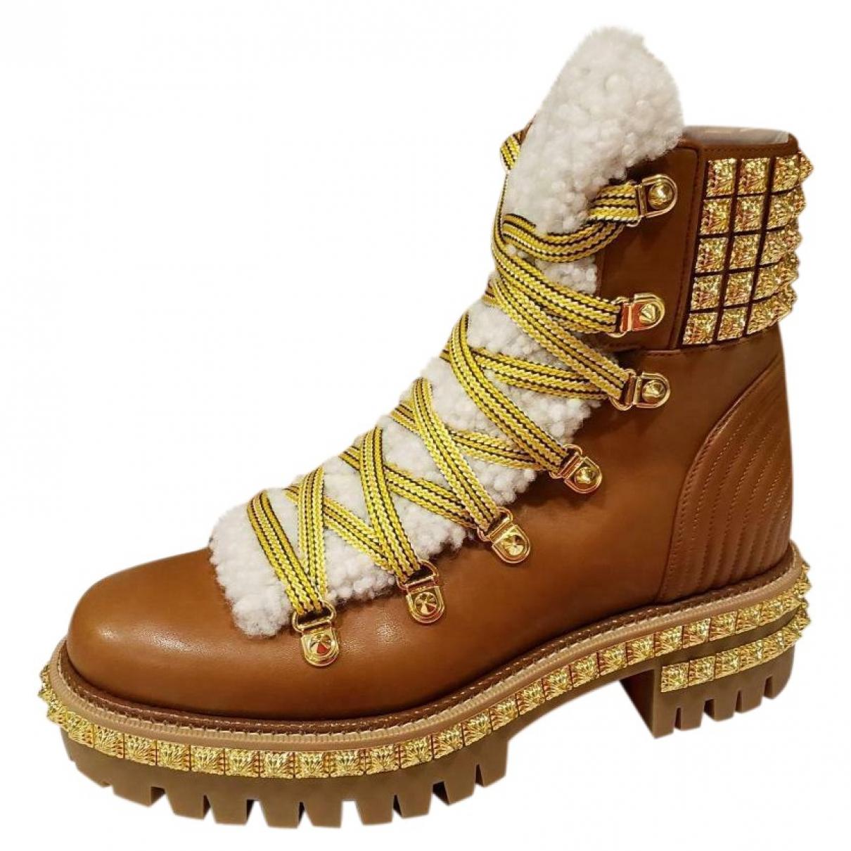 Christian Louboutin - Boots   pour femme en cuir - marron
