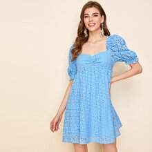 Puff Sleeve Ruched Bust Schiffy Dress