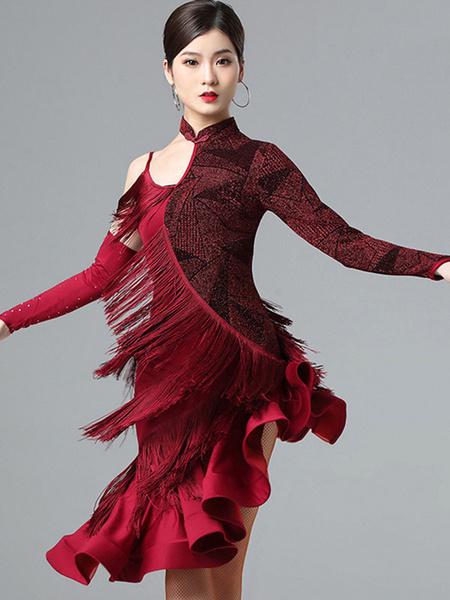 Milanoo Disfraz Halloween Vestidos de baile latino Vestido de volantes con flecos Bailarina latina Ropa de baile Halloween
