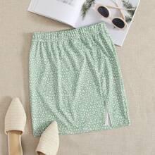 Slit Hem All Over Print Skirt