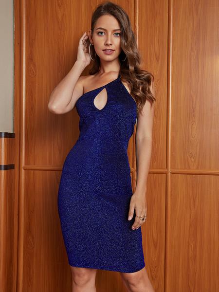 YOINS Blue Glitter Backless Design One Shoulder Sleeveless Dress