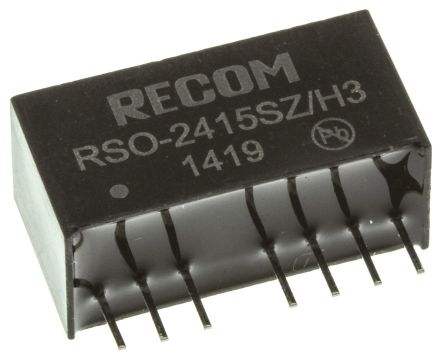 Recom RSO 1W Isolated DC-DC Converter Through Hole, Voltage in 9 → 36 V dc, Voltage out 15V dc Medical Approved