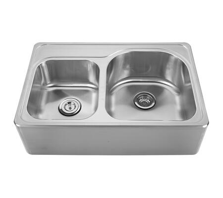 WHNAPD3322 Noah's Collection Brushed Stainless Steel double bowl drop-in sink with a seamless customized front