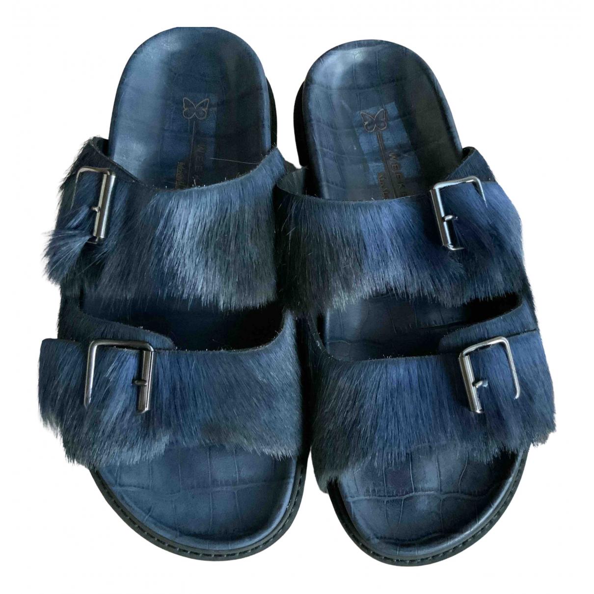 Max Mara Weekend - Sandales   pour femme en veau facon poulain - bleu