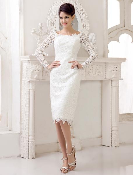 Milanoo Short Simple Wedding dresses 2020 lace long sleeve slit Ivory Knee Length bridal reception dress