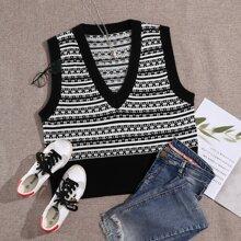 Pulloverweste mit Streifen und V-Kragen