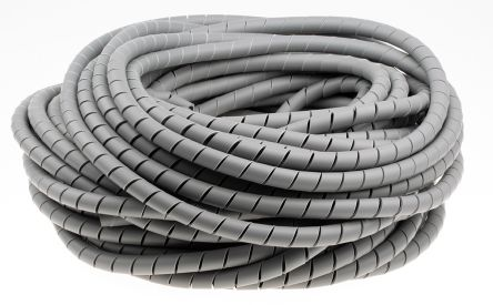 HellermannTyton Spiral Wrap, I.D 9.6mm 19mm Polyolefin, Grey