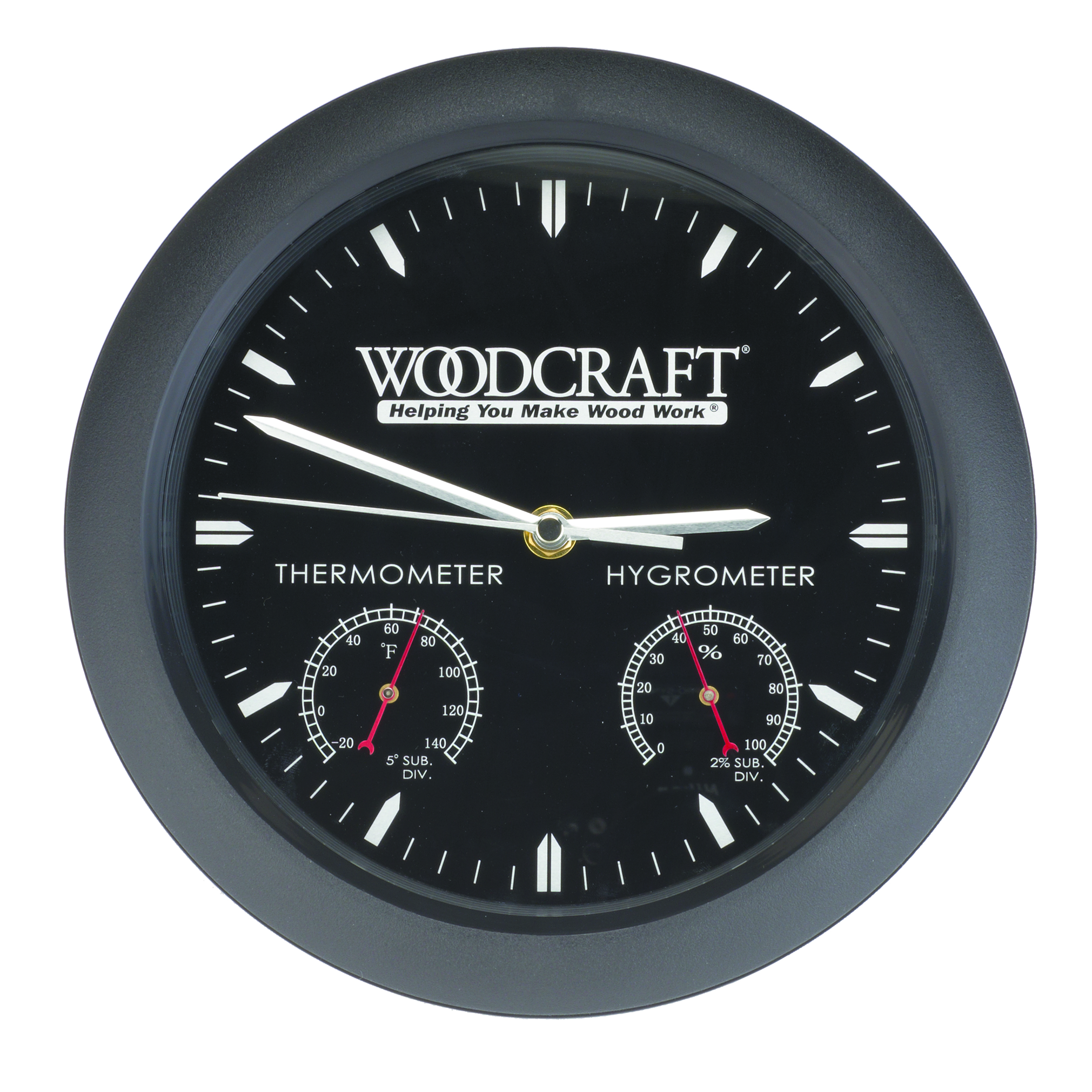 Woodshop Clock With Thermometer And Hygrometer