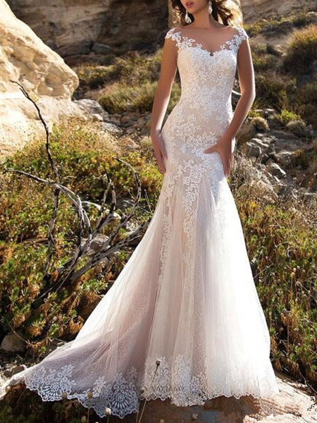 Milanoo Wedding Dress 2020 V Neck Mermaid sleeveless Lace Embellishment classic Bridal Gowns with train