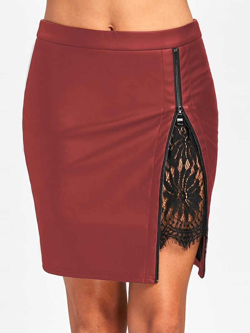 Ericdress Patchwork Color Block Lace Bodycon Mini Skirt