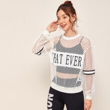 Drop Shoulder Letter and Striped Fishnet Mesh Pullover Without Camisole