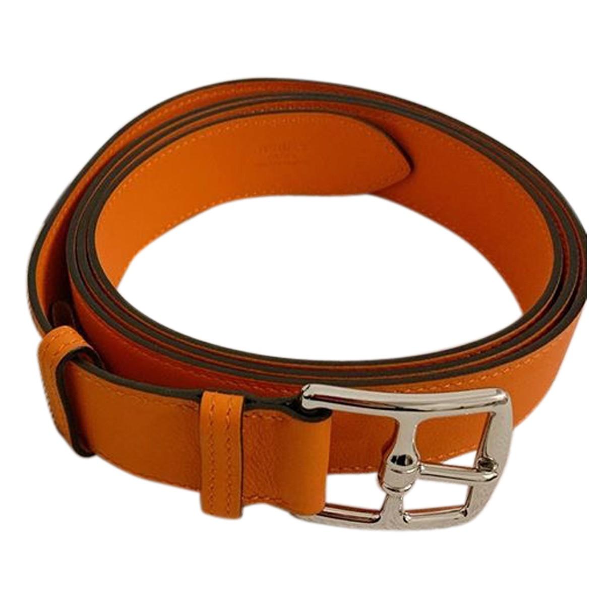 Hermes Etriviere Guertel in  Orange Leder