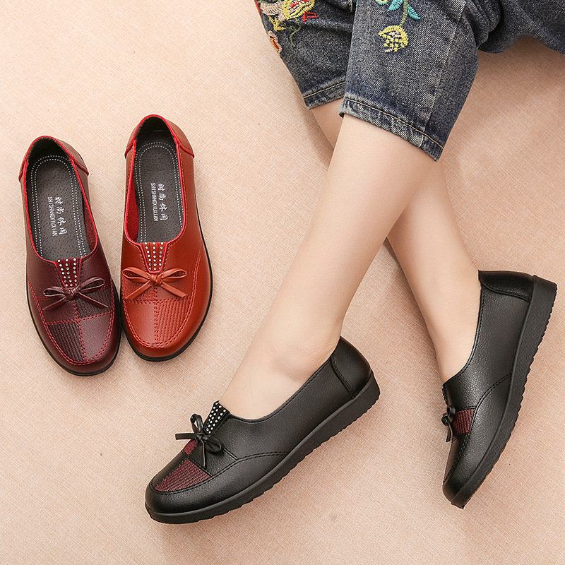 Women Soft Lightweight Microfiber Splicing Butterfly Knot Flat Loafers