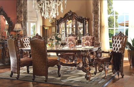 Versailles Collection 611008TCCB 8 PC Dining Room Set with Dining Table + 4 Side Chairs + 2 Arm Chairs + China Cabinet in Cherry Oak