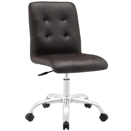 Prim Collection EEI-1533-BRN Mid Back Office Chair with Adjustable Height  Swivel Seat  Five Dual-Wheel Nylon Casters  Chrome Steel Base and Faux