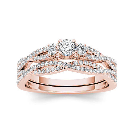 1/2 CT. T.W. Diamond 14K Rose Gold Crossover Bridal Ring Set, 9 , No Color Family