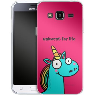 Samsung Galaxy J3 (2016) Silikon Handyhuelle - Unicorns for Life von Flossy and Jim