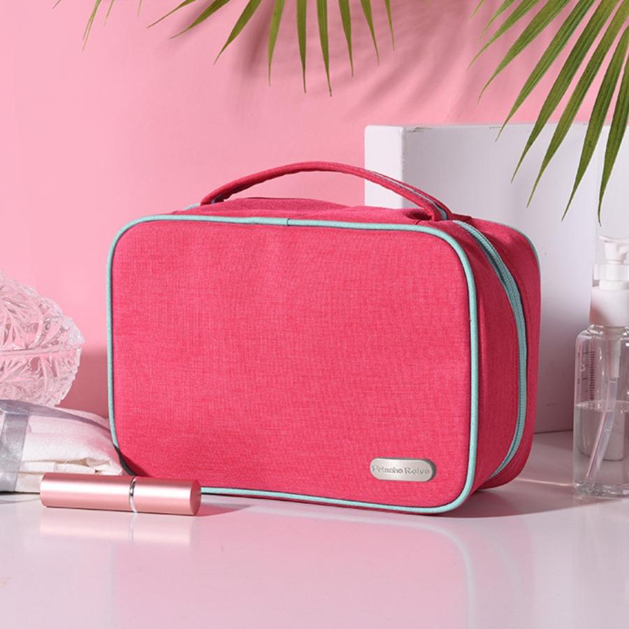 LW lovely Trendy Zipper Design Rose Red Makeup Bag