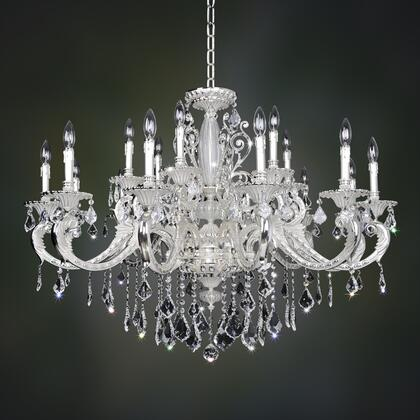 024751-017-SE001 Cassella 6-Light Chandelier with Swarovski Elements Crystal Traditional Style  120V in 2-Tone Silver