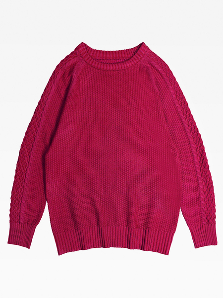 Yoins Men's Casual Leisure O-Neck warm knit Pullover Knitting Sweaters In Burgundy