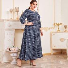 Plus Allover Geo Print A-line Dress
