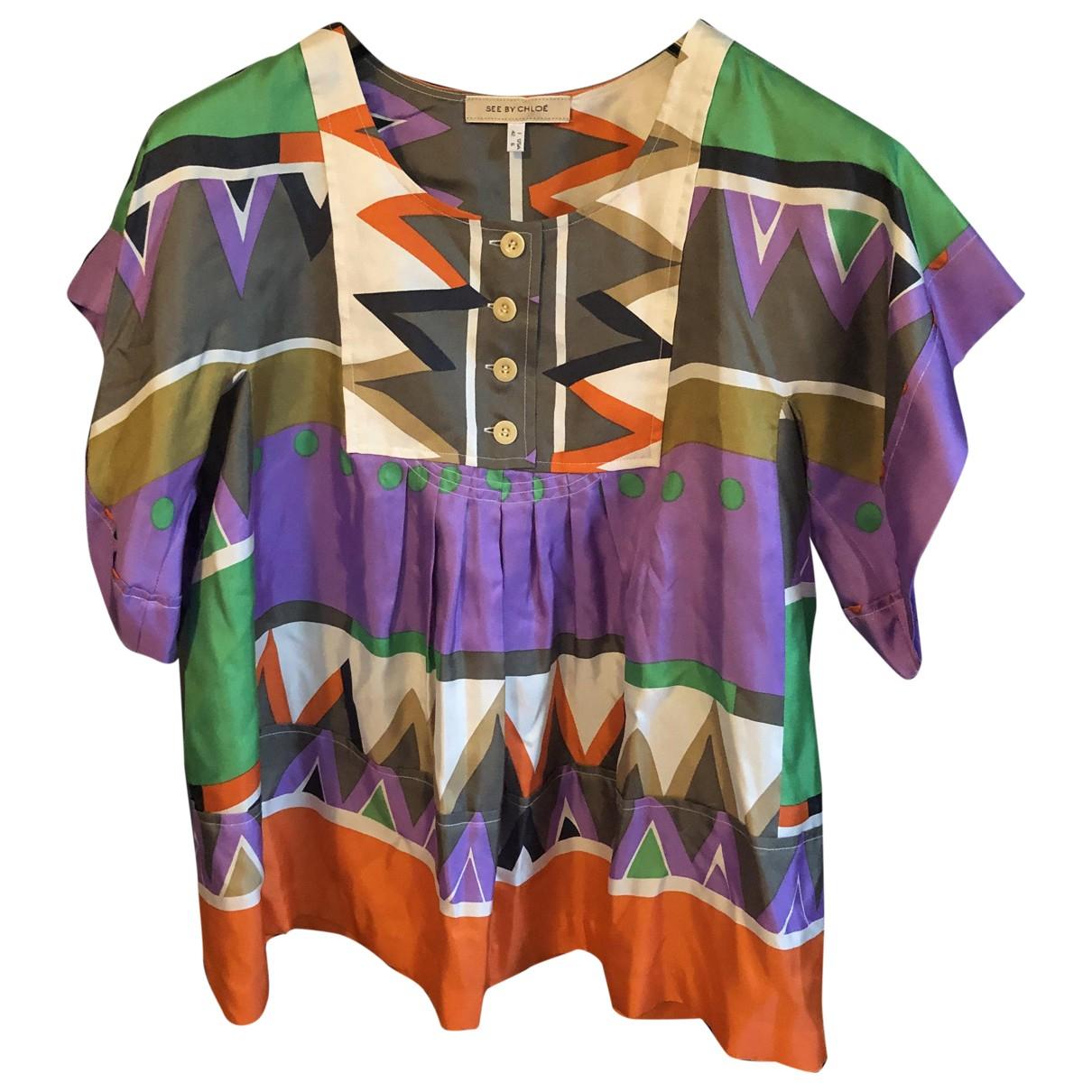 See By Chloe - Top   pour femme en soie - multicolore