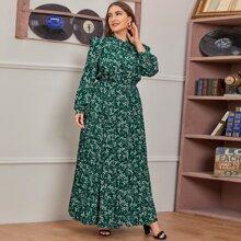 Kleid mit Bluemchen Muster, Halsband und Ruesche