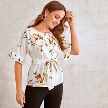 Flounce Sleeve Self Belted Floral Top