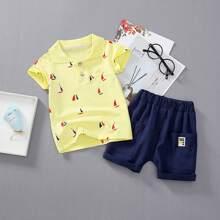 Toddler Boys Graphic Print Polo Shirt & Shorts
