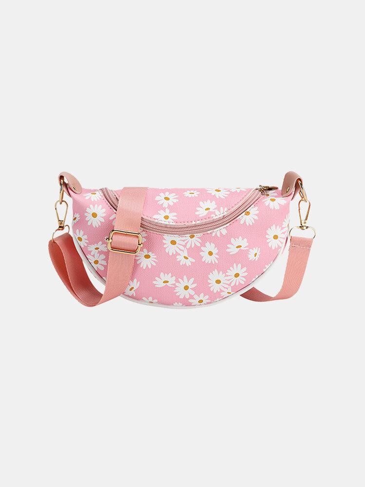 Women Daisy Print Crossbody Bag Belt Bag Sling bag