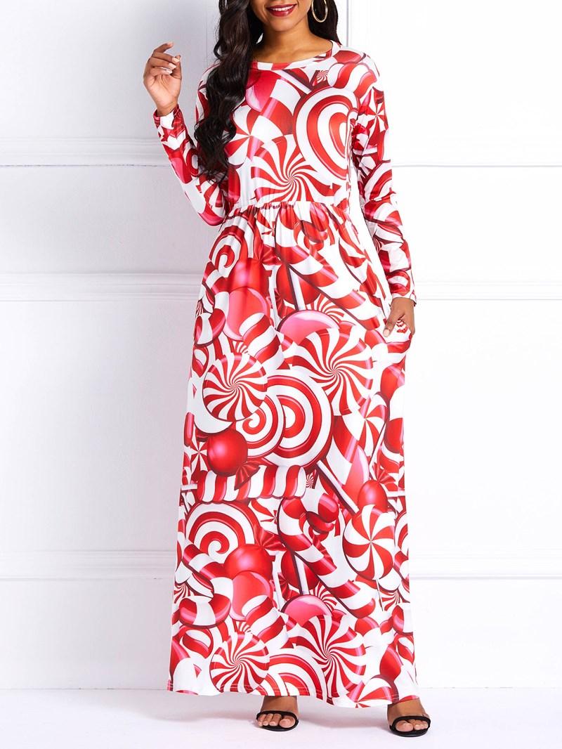 Ericdress Round Neck Floor-Length Long Sleeves Maxi Dress
