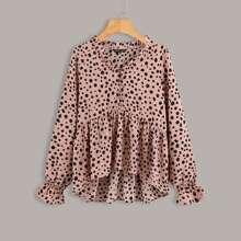 Babydoll Bluse mit Dalmatiner Muster und Rueschenbesatz