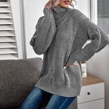 Turtle Neck Drop Shoulder Cable Knit Sweater