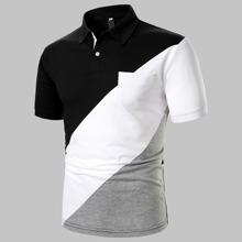 Polo Shirt mit Farbblock und Taschen Flicken
